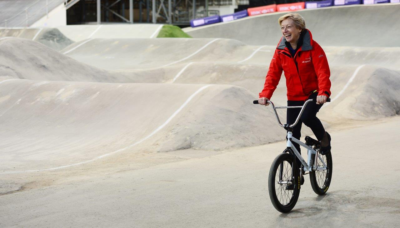UK Sport CEO Liz Nicholl tries a BMX